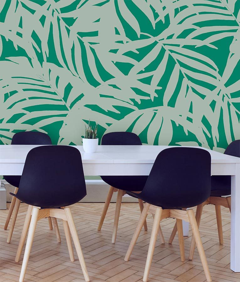 HD Walls wallcovering design: Cocora in Lush Colorway - green tones, leafy palms pattern