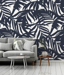 HD Walls wallcovering design: Cocora in Midnight Colorway - leafy palms pattern blue