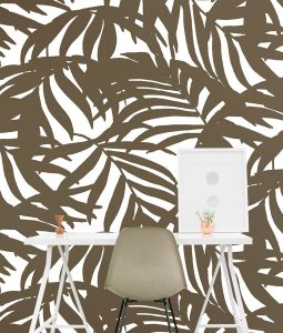 HD Walls wallcovering design: Cocora in White Colorway - golden leafy palms pattern