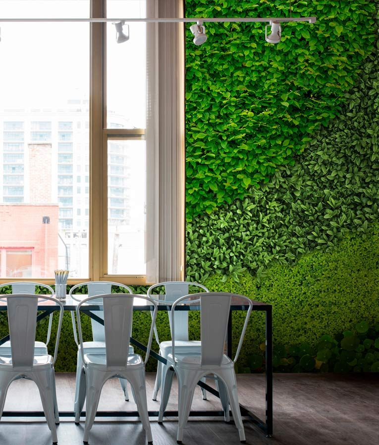 helix wall mural, a biophilic design with sustainable material