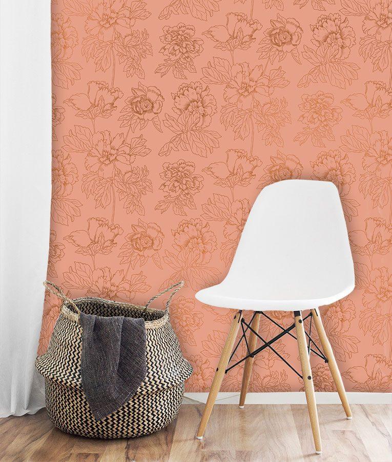 Metallic floral wallpaper pattern
