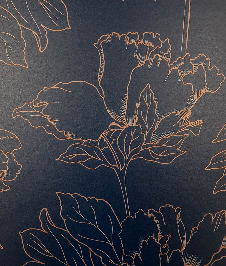 Floral pattern wallpaper with metallic highlights