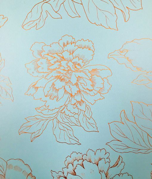 Conservative metallic floral pattern wallpaper