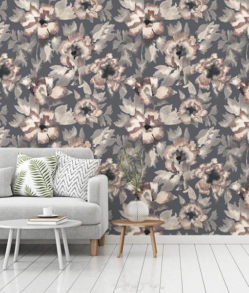 Designer wallpaper with floral pattern