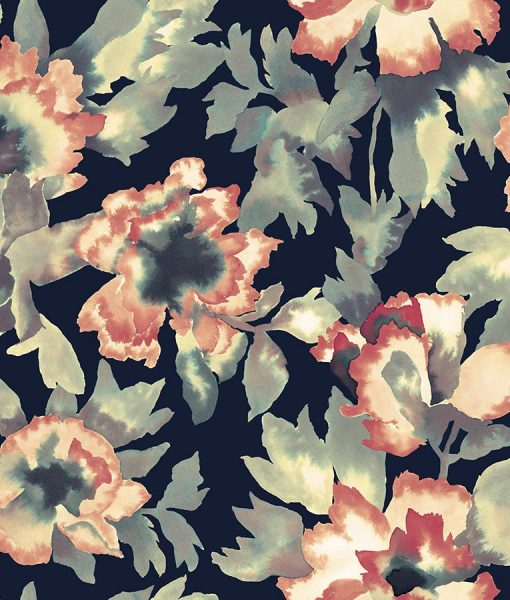 Brightly colored floral wallpaper print