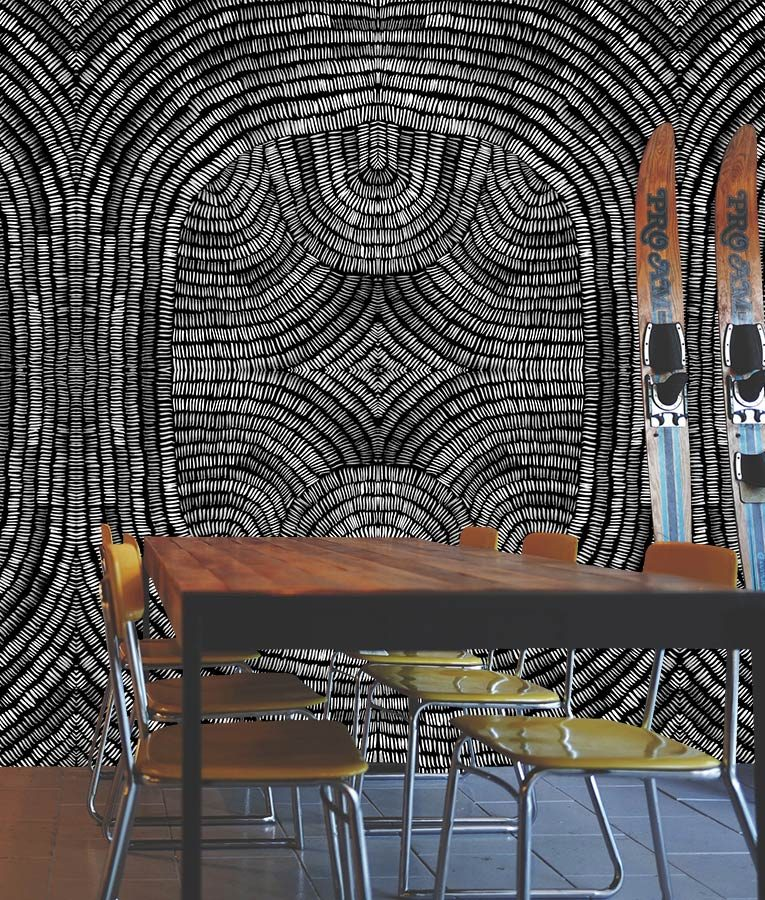 Black and white ticking pattern wall paper