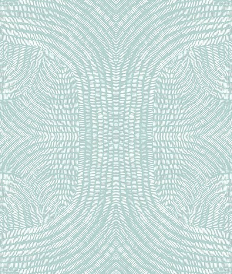 Mosaic light teal and white wallpaper pattern