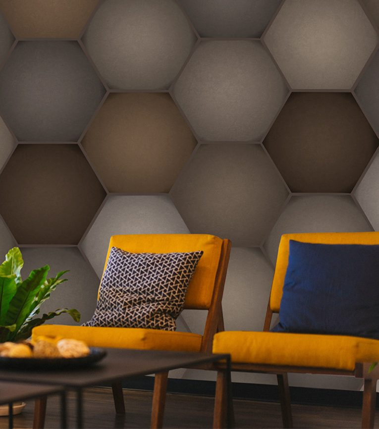 HD Walls - Geometric pattern: Mandrake with Alloy colorway - Roomset