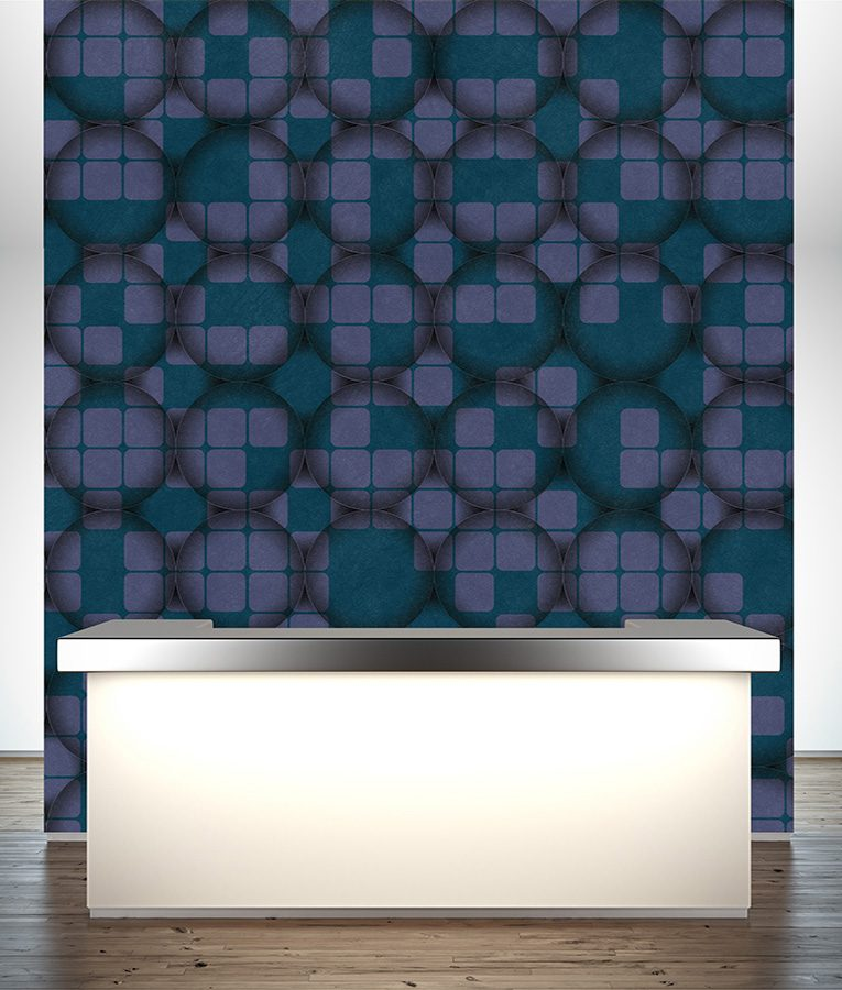 HD Walls - Geometric pattern: Paracosm with Heliotrope colorway - Roomset