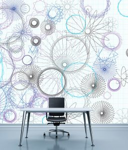 HD Walls exclusive wallcovering design - Geometric pattern: Fibonacci with 1982 colorway - Roomset